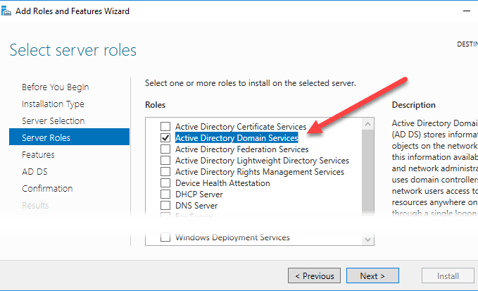on the next step we open server manager go to add roles and features select active directory domain services and hit next