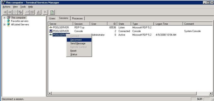 How to remotely disconnect a terminal services session the back room tech - Remote desktop console mode ...